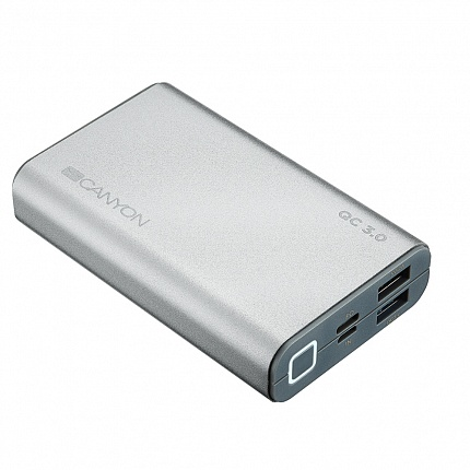 Внешний аккумулятор CANYON 10000mAh, Quick Charge QC3.0,  USB Power Delivery, Lithium Polymer Battery, Silver. (H2CNDTPBQC10S)