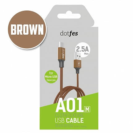 USB кабель micro DOTFES A01M (1m) brown