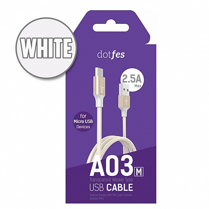 USB кабель micro DOTFES A03M (1m) white