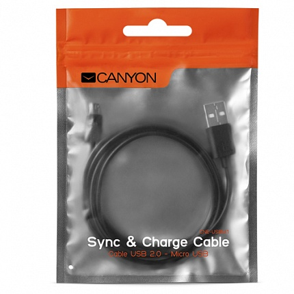 Кабель CANYON CNE-USBM1B Micro USB cable, 1M, Black