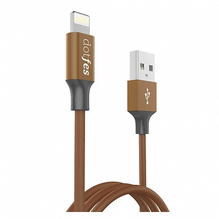 USB кабель DOTFES A01 Lightning (1m) brown